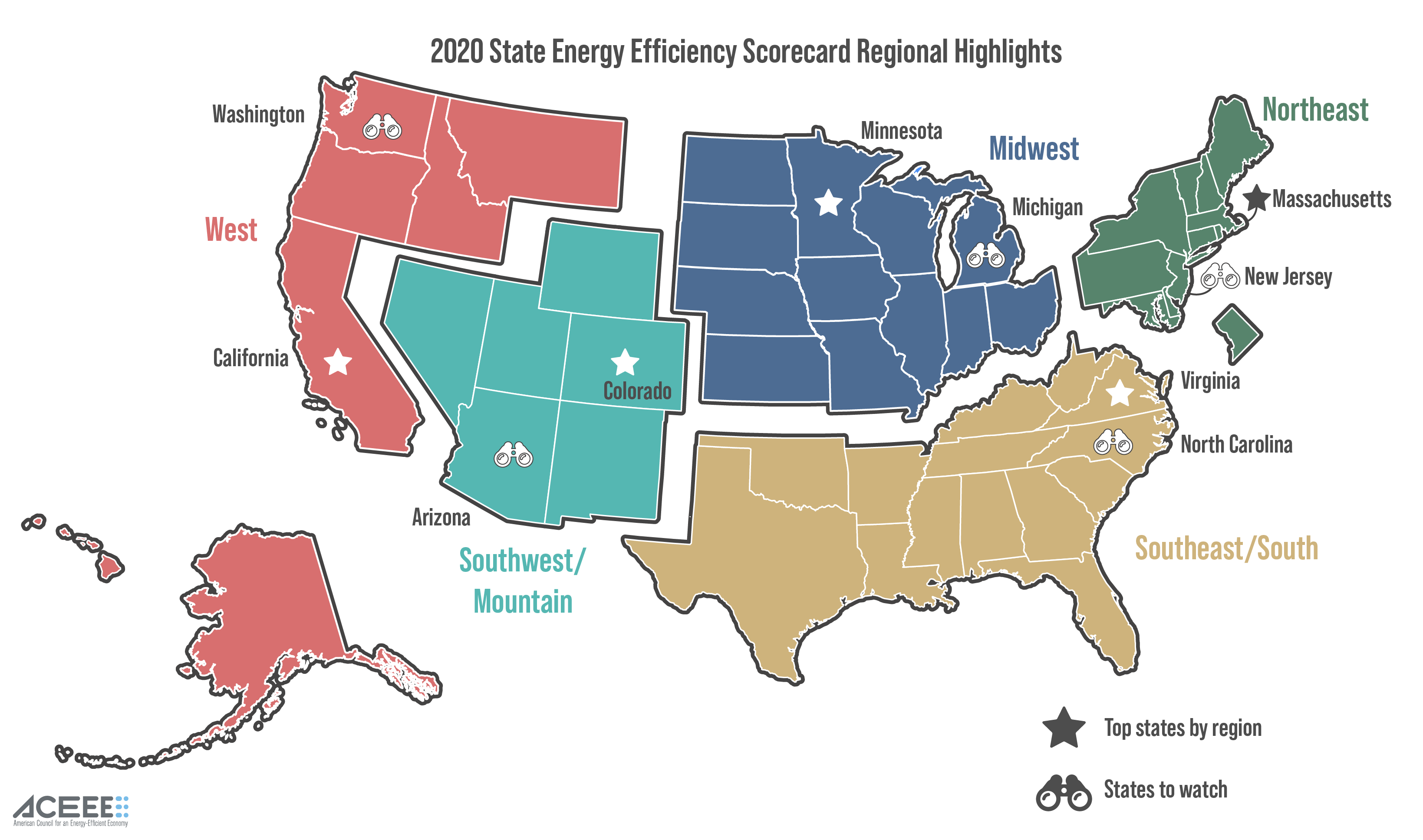 ACEEE 2020 Energy Efficiency Scorecard regional rankings