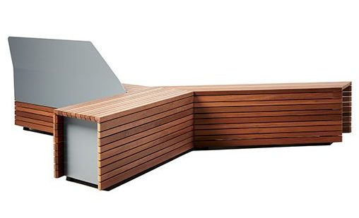 Parallel 42 bench system for outdoor spaces