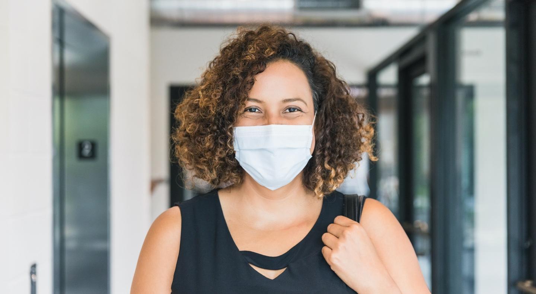 Woman wearing a mask - Otis elevator safety study