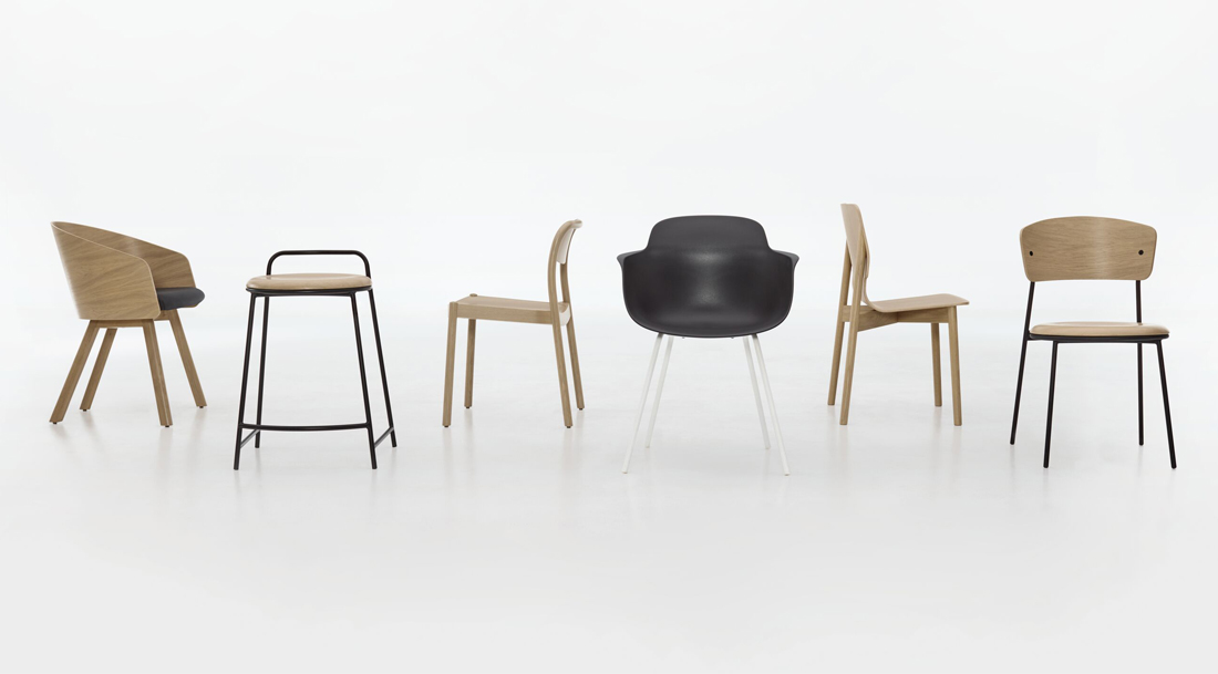 Teknion North 56 collection of natural-wood chairs