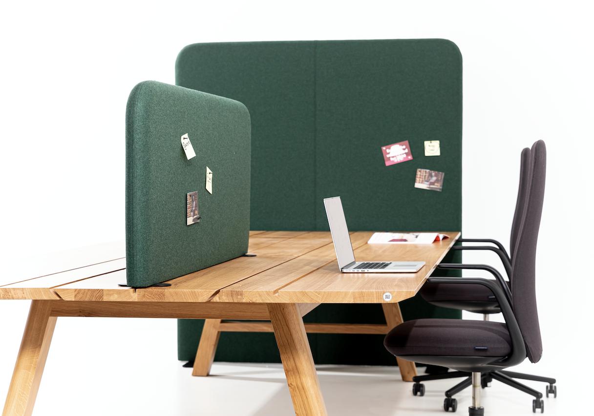 BuzziShield Free room divider and BuzziShield Desk desk partition.