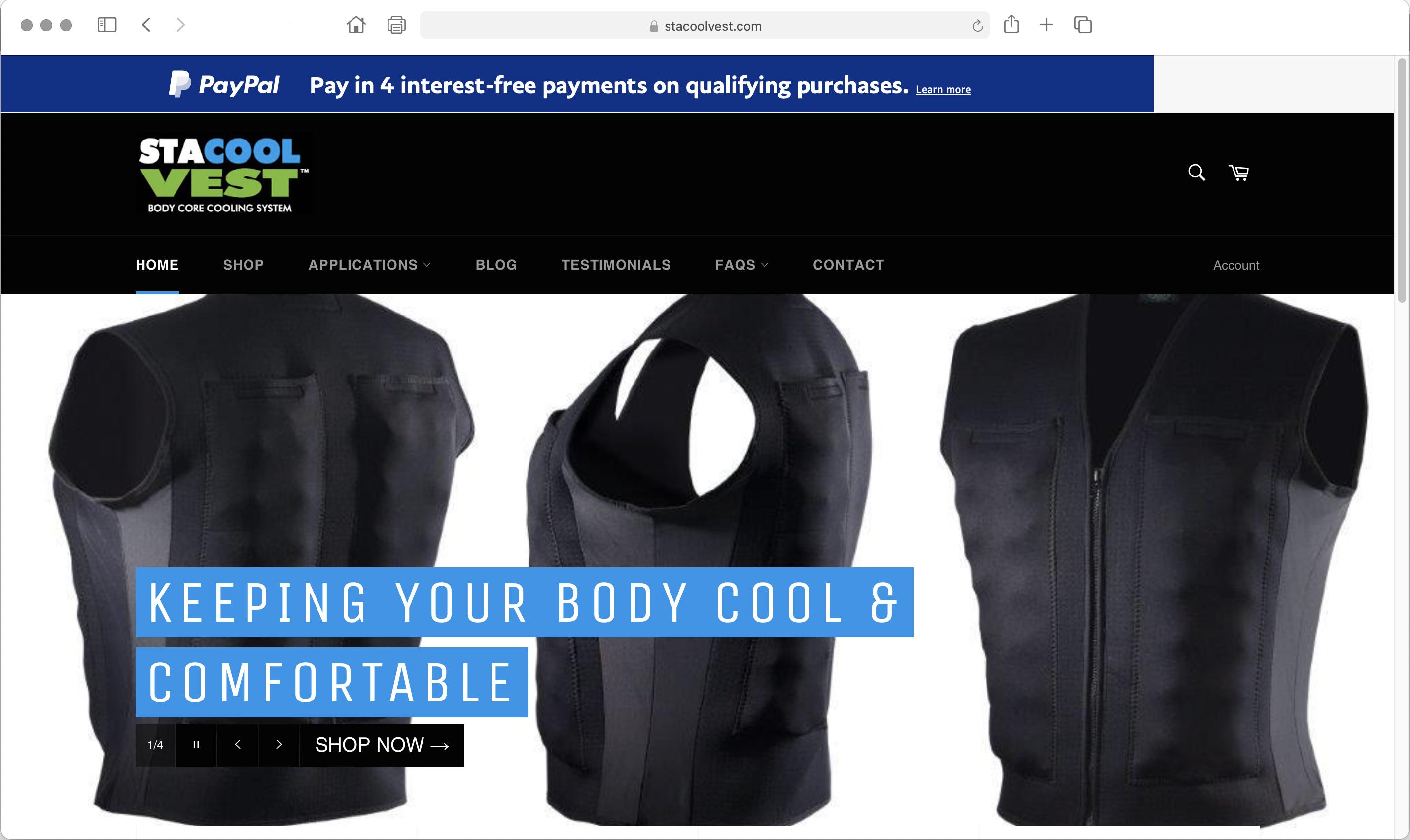 New website for StaCool cooling vests