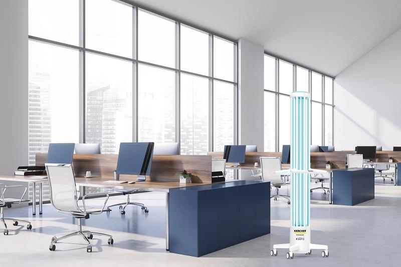 Kärcher R-Zero Arc UV-C disinfection device in workspace