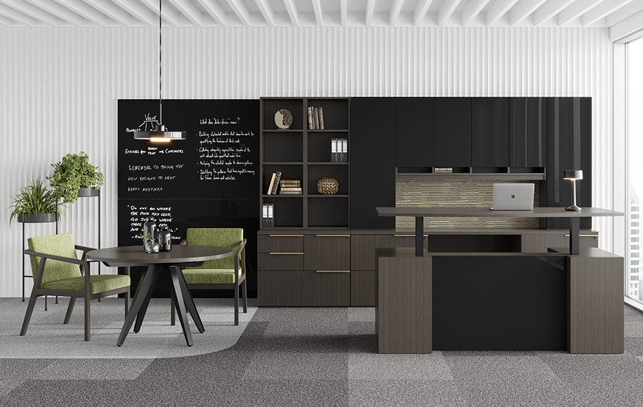 Indiana Furniture Canvas/Gesso casegoods collection with black glass marker board.